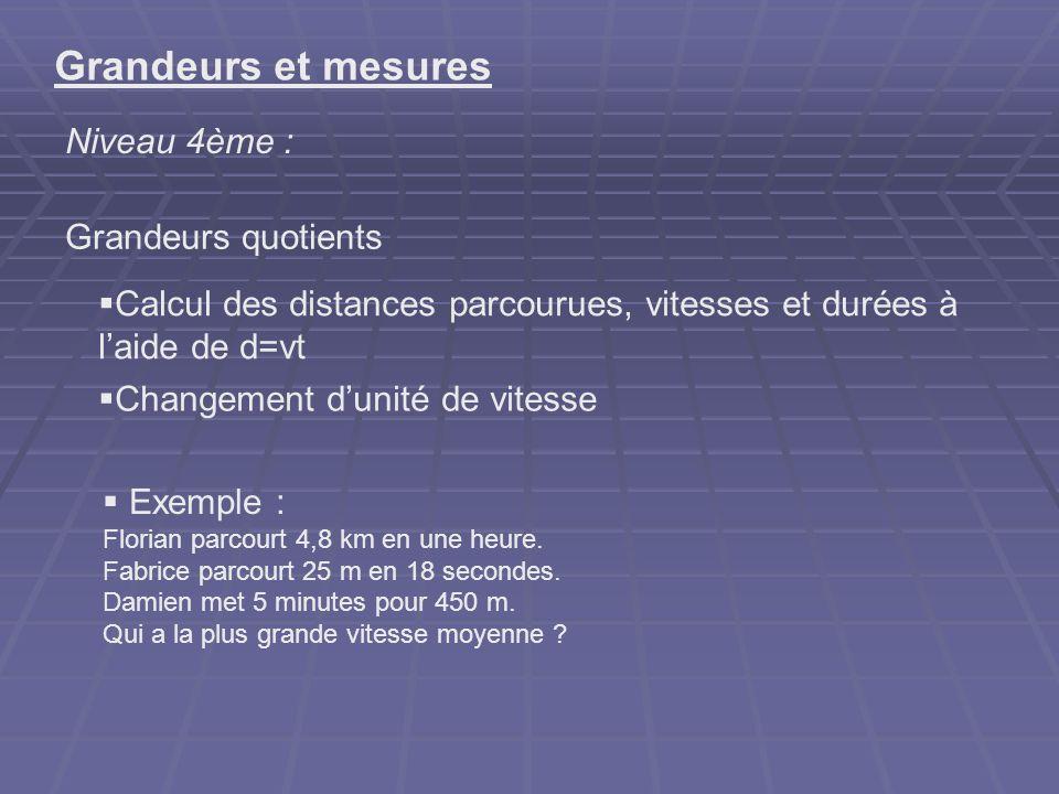 Grandeurs et mesures Niveau 4ème : Grandeurs quotients