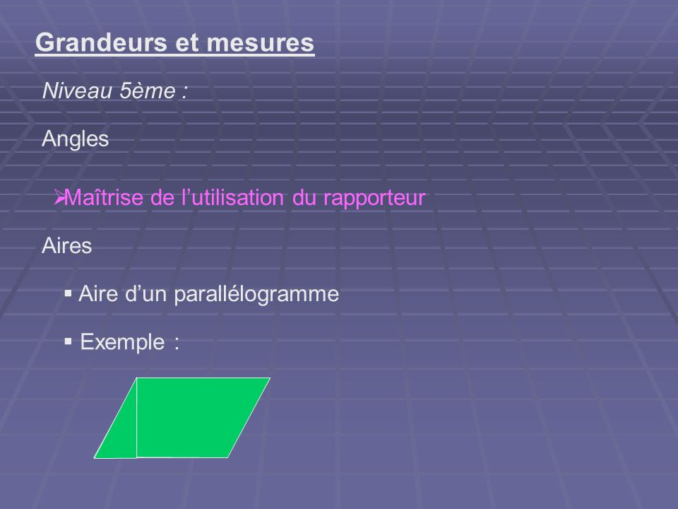Grandeurs et mesures Niveau 5ème : Angles