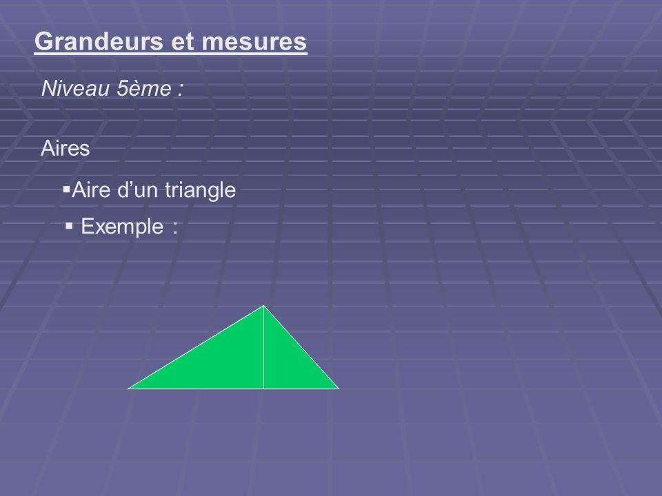 Grandeurs et mesures Niveau 5ème : Aires Aire d'un triangle Exemple :
