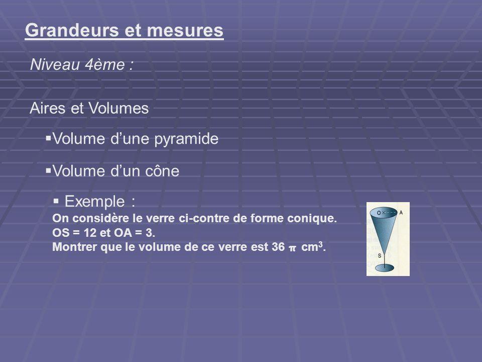 Grandeurs et mesures Niveau 4ème : Aires et Volumes