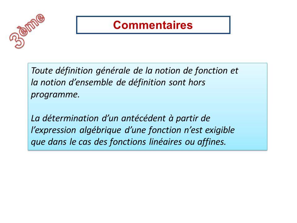 3èmeCommentaires. Toute définition générale de la notion de fonction et. la notion d'ensemble de définition sont hors.