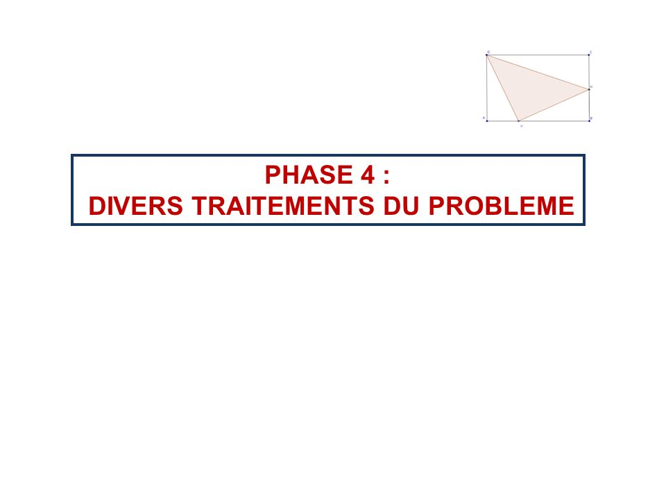 DIVERS TRAITEMENTS DU PROBLEME