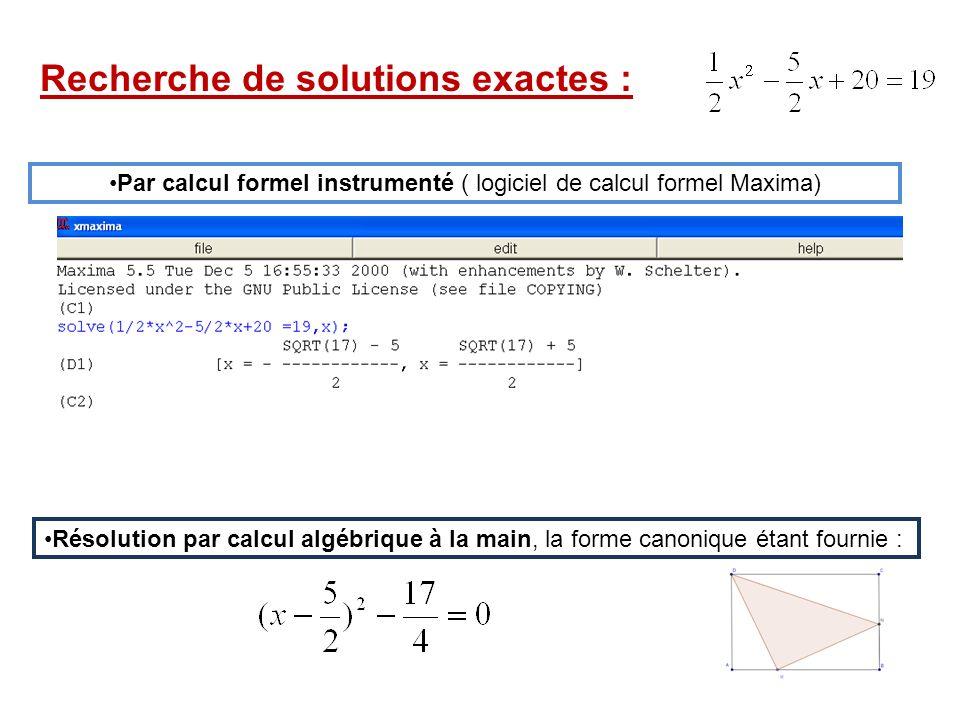 Par calcul formel instrumenté ( logiciel de calcul formel Maxima)