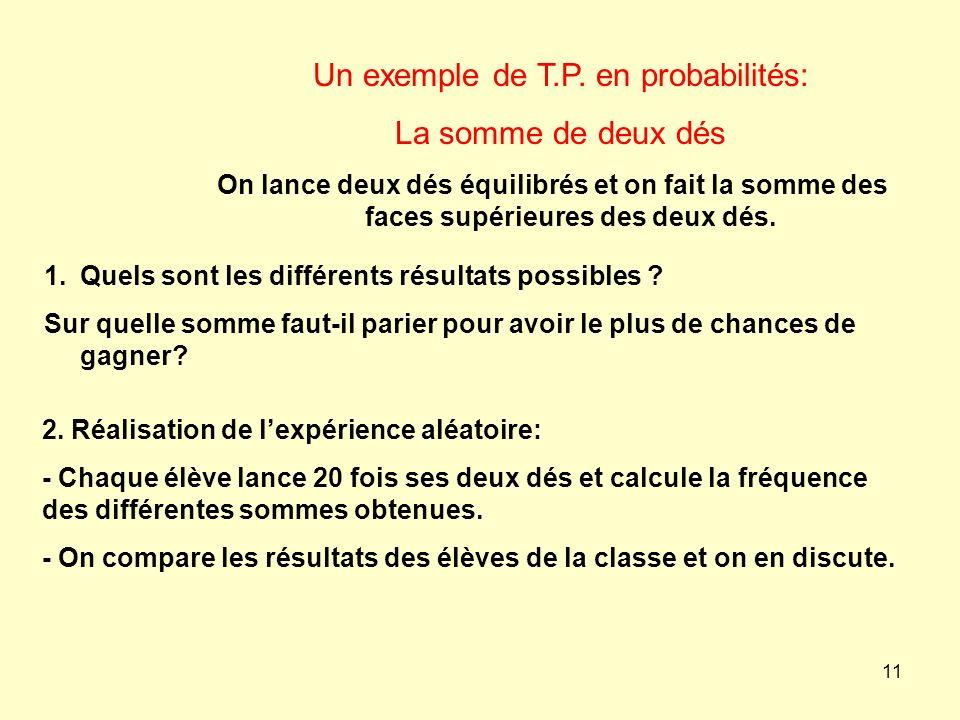 Un exemple de T.P. en probabilités: