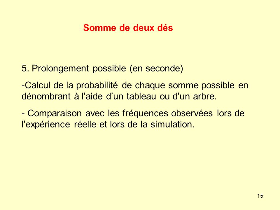 Somme de deux dés5. Prolongement possible (en seconde)