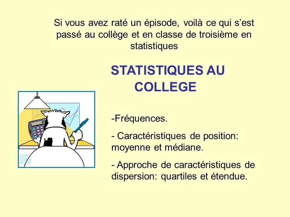 STATISTIQUES AU COLLEGE
