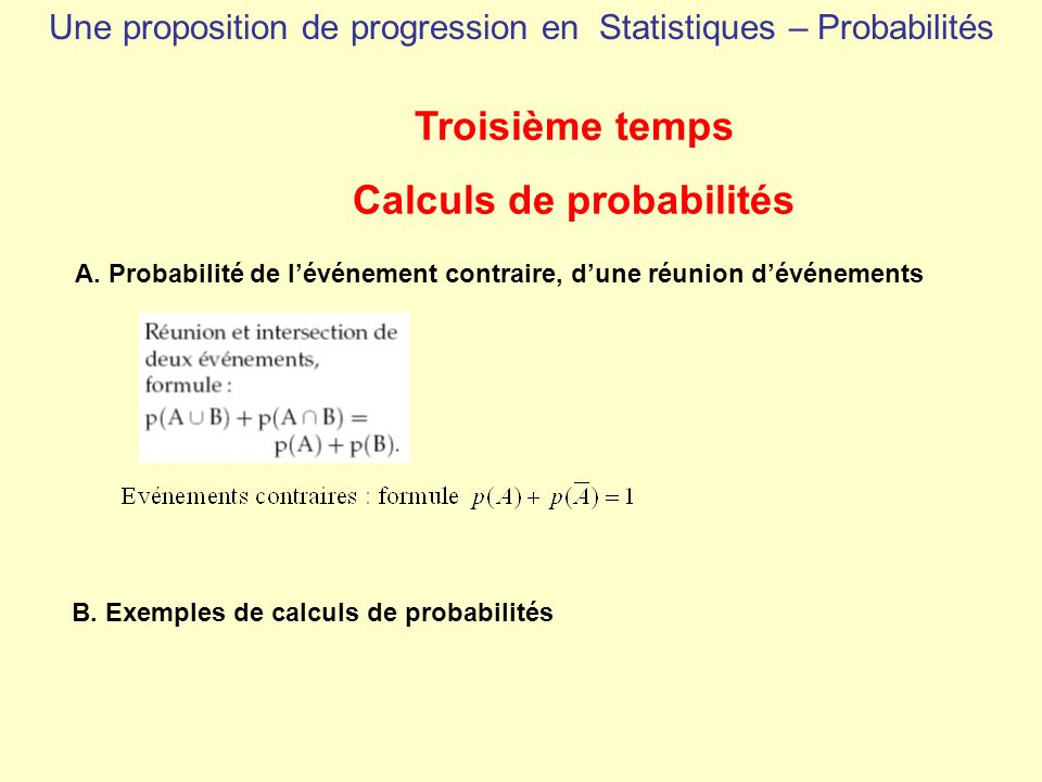 Troisième temps Calculs de probabilités