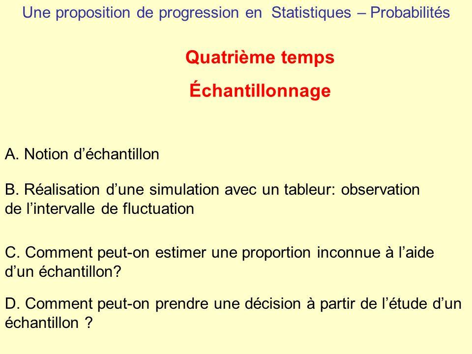 Une proposition de progression en Statistiques – Probabilités