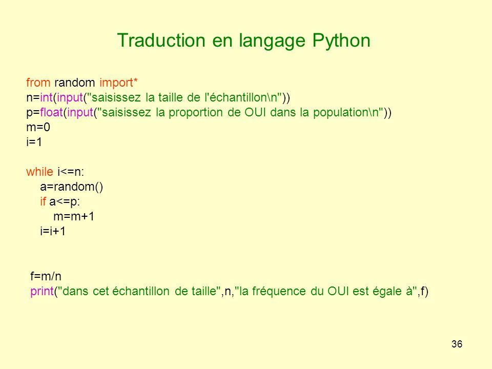 Traduction en langage Python