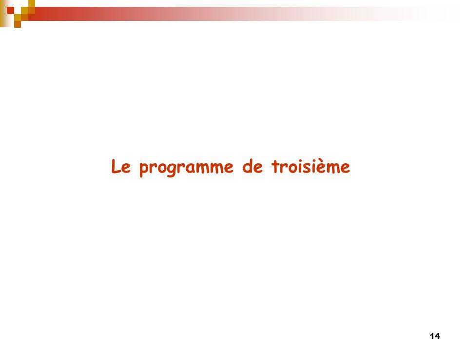 Le programme de troisième