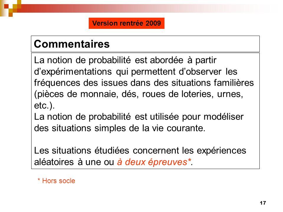 Version rentrée 2009 Commentaires.