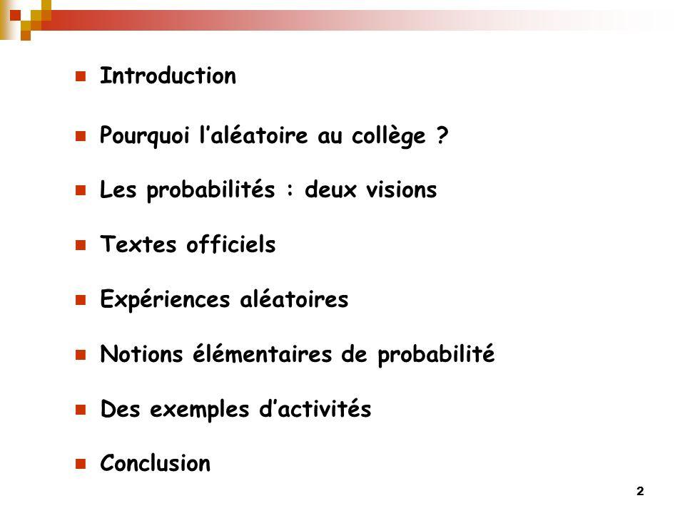 Introduction Pourquoi l'aléatoire au collège Les probabilités : deux visions. Textes officiels.