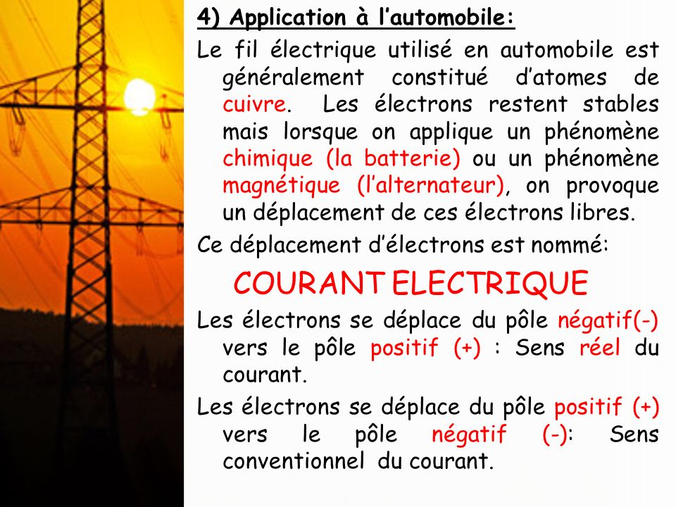 COURANT ELECTRIQUE 4) Application à l'automobile: