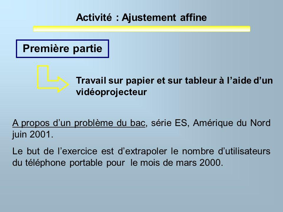 Première partieTravail sur papier et sur tableur à l'aide d'un vidéoprojecteur. A propos d'un problème du bac, série ES, Amérique du Nord juin 2001.
