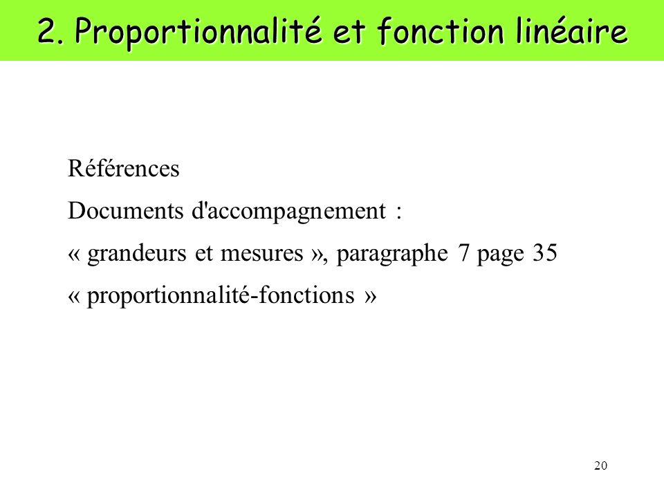 2. Proportionnalité et fonction linéaire