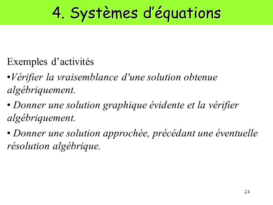 4. Systèmes d'équations Exemples d'activités