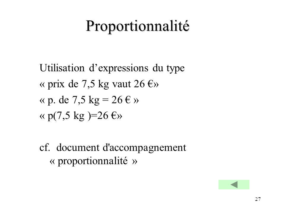 Proportionnalité Utilisation d'expressions du type