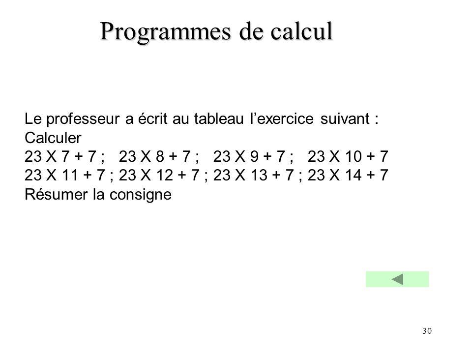 Programmes de calcul