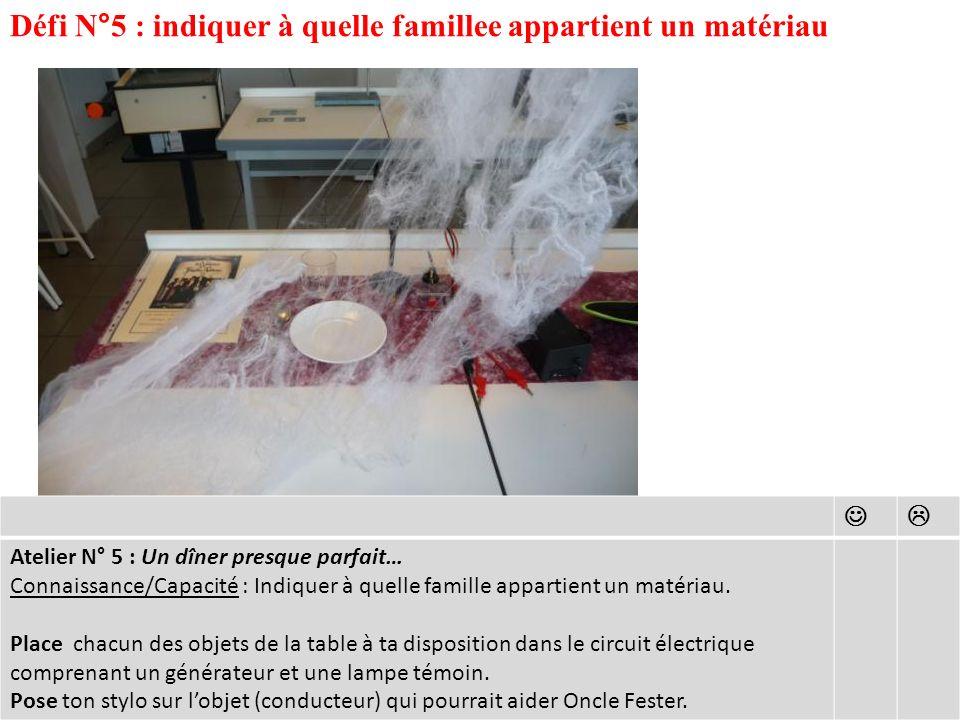 Défi N°5 : indiquer à quelle famillee appartient un matériau