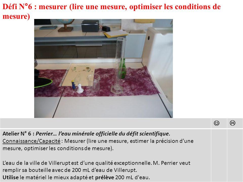 Défi N°6 : mesurer (lire une mesure, optimiser les conditions de mesure)