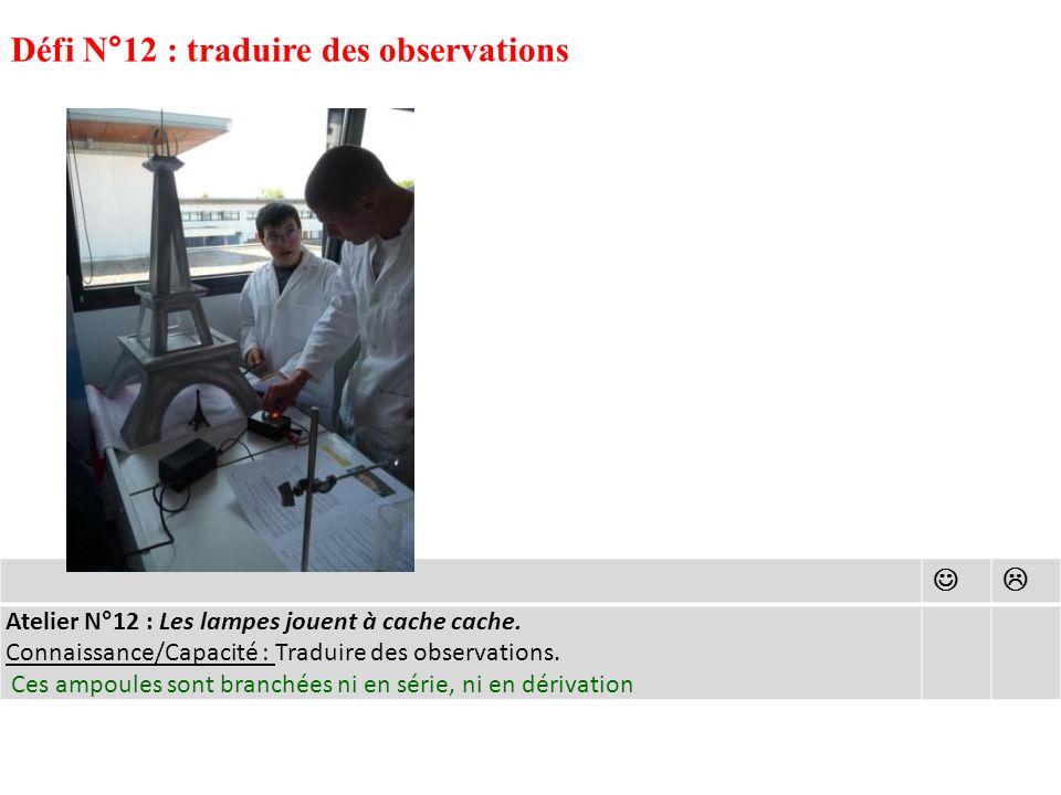 Défi N°12 : traduire des observations