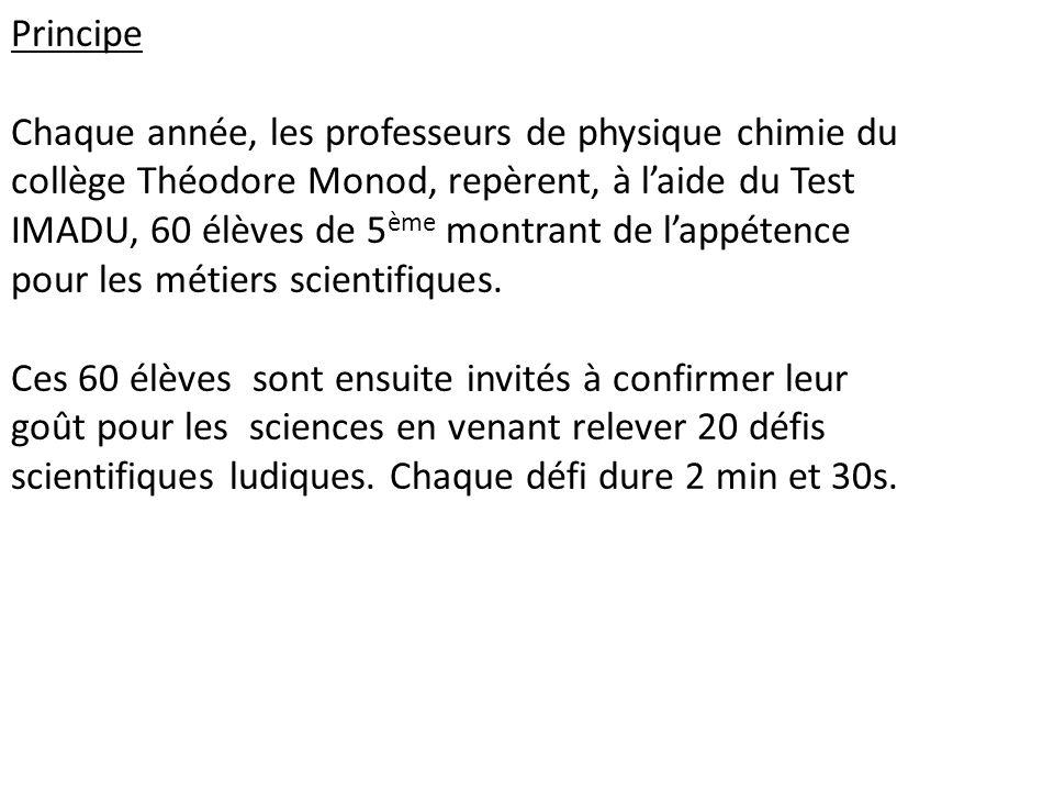 Principe Chaque année, les professeurs de physique chimie du collège Théodore Monod, repèrent, à l'aide du Test IMADU, 60 élèves de 5ème montrant de l'appétence pour les métiers scientifiques.