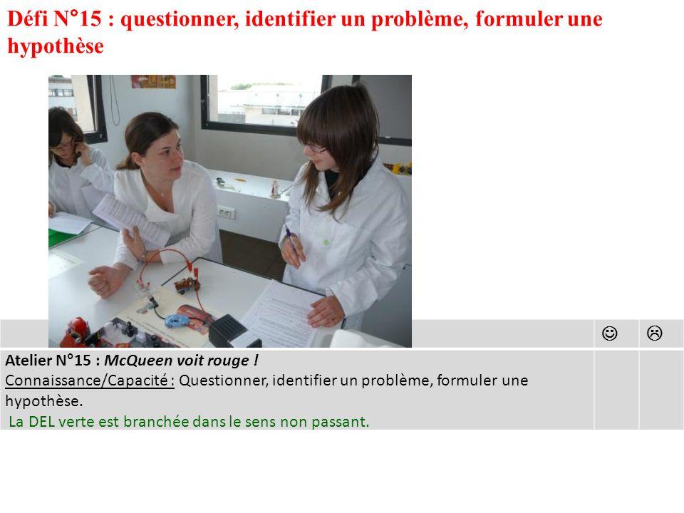 Défi N°15 : questionner, identifier un problème, formuler une hypothèse