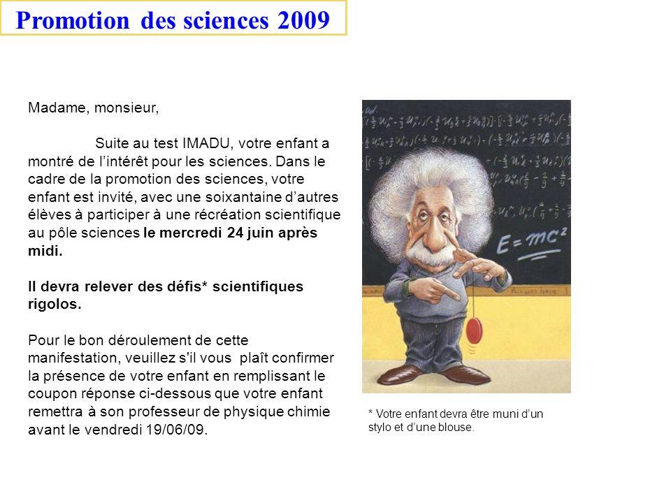 Promotion des sciences 2009