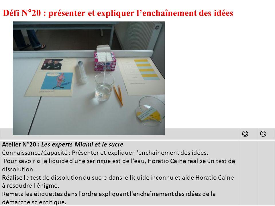Défi N°20 : présenter et expliquer l'enchaînement des idées