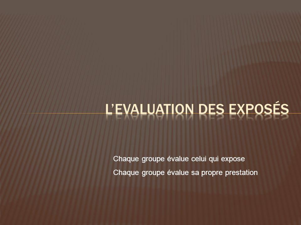 L'evaluation des exposés