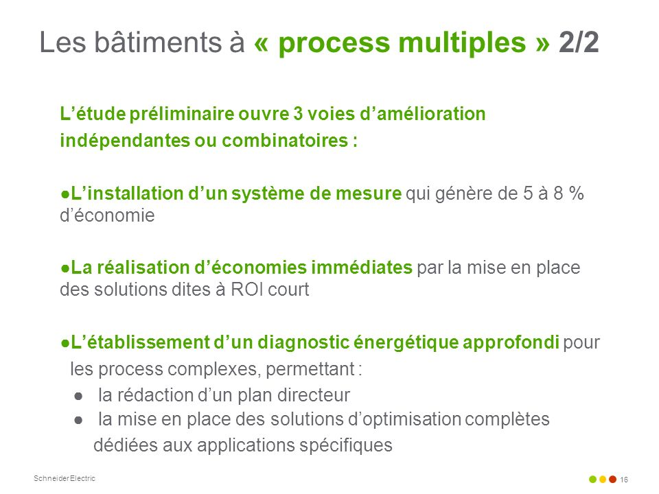 Les bâtiments à « process multiples » 2/2