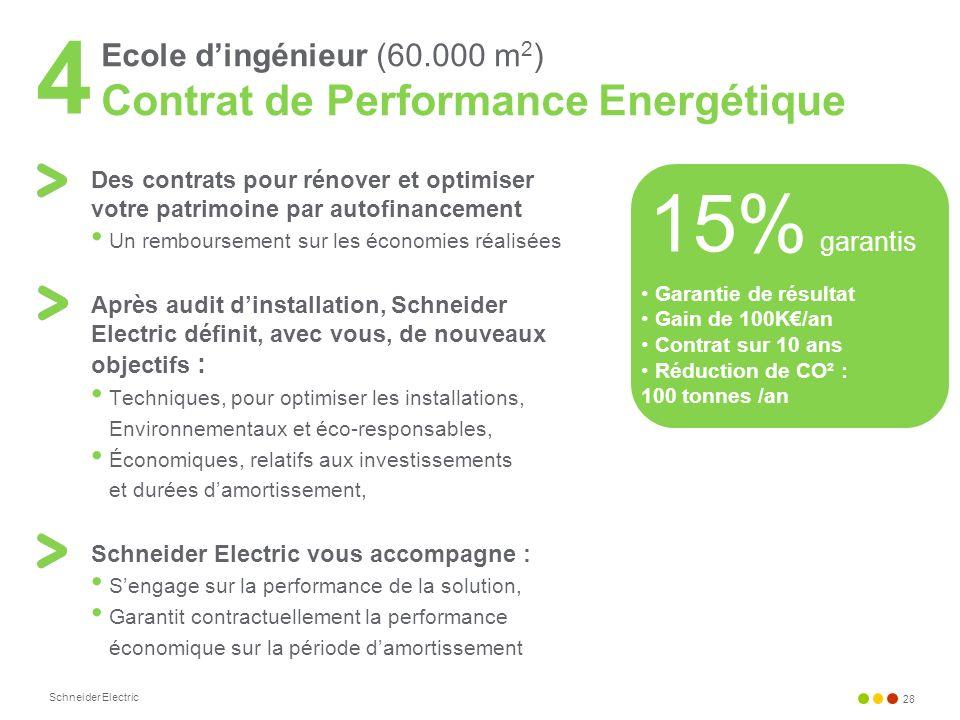 4Ecole d'ingénieur (60.000 m2) Contrat de Performance Energétique. Des contrats pour rénover et optimiser votre patrimoine par autofinancement.
