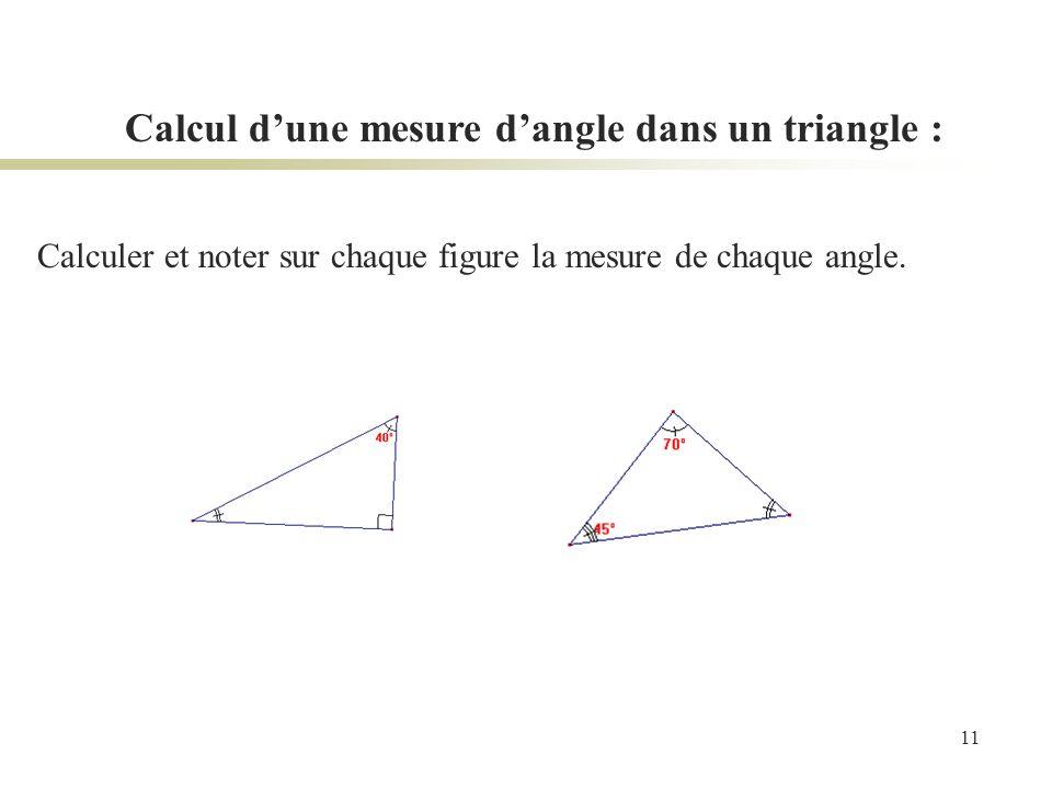 Calcul d'une mesure d'angle dans un triangle :