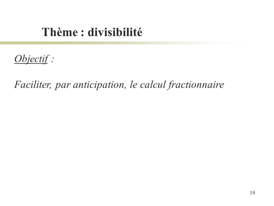 Thème : divisibilité Objectif :