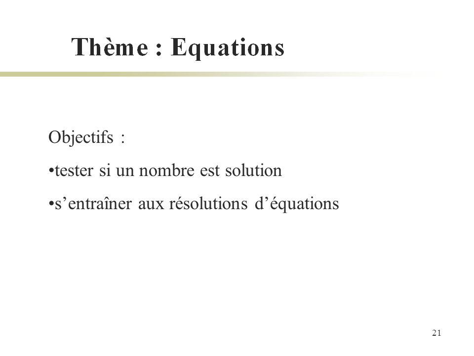 Objectifs : tester si un nombre est solution s'entraîner aux résolutions d'équations