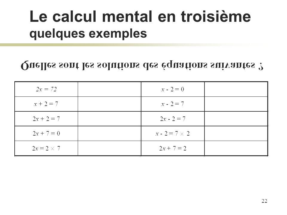 Le calcul mental en troisième quelques exemples
