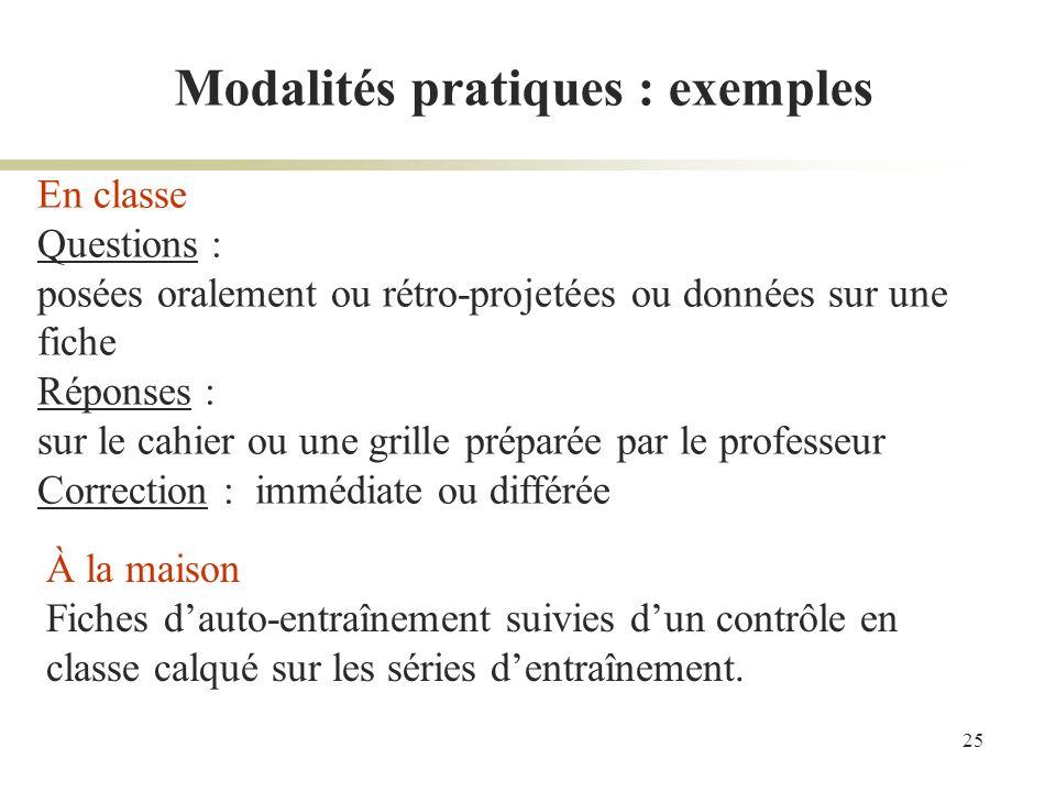 Modalités pratiques : exemples
