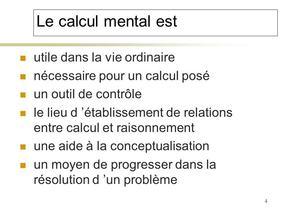 Le calcul mental est utile dans la vie ordinaire