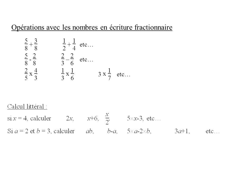 Opérations avec les nombres en écriture fractionnaire