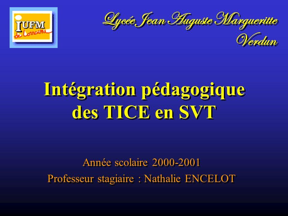 Intégration pédagogique des TICE en SVT