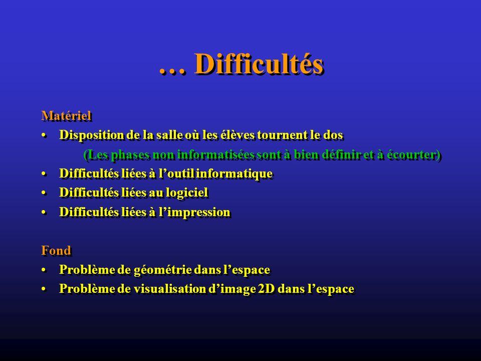 … Difficultés Matériel