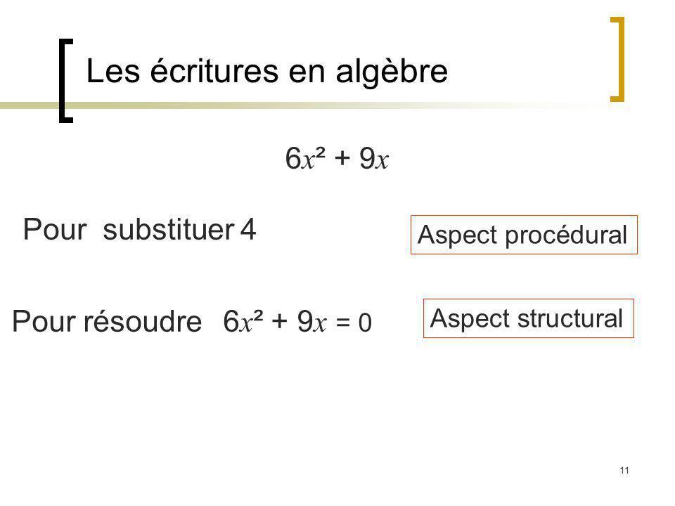 Les écritures en algèbre