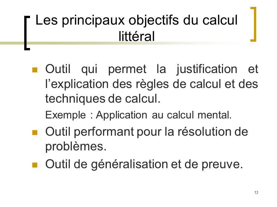 Les principaux objectifs du calcul littéral