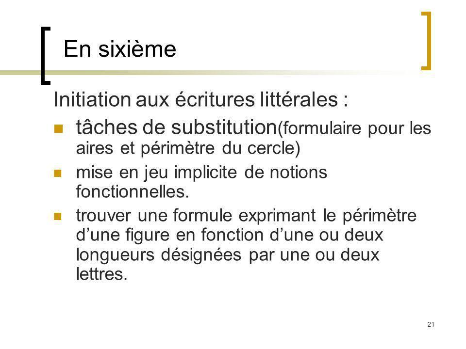 En sixième Initiation aux écritures littérales :