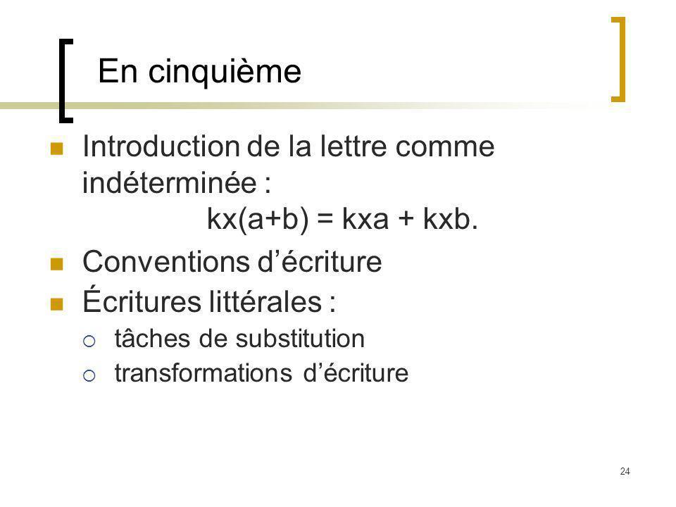 En cinquième Introduction de la lettre comme indéterminée : kx(a+b) = kxa + kxb. Conventions d'écriture.