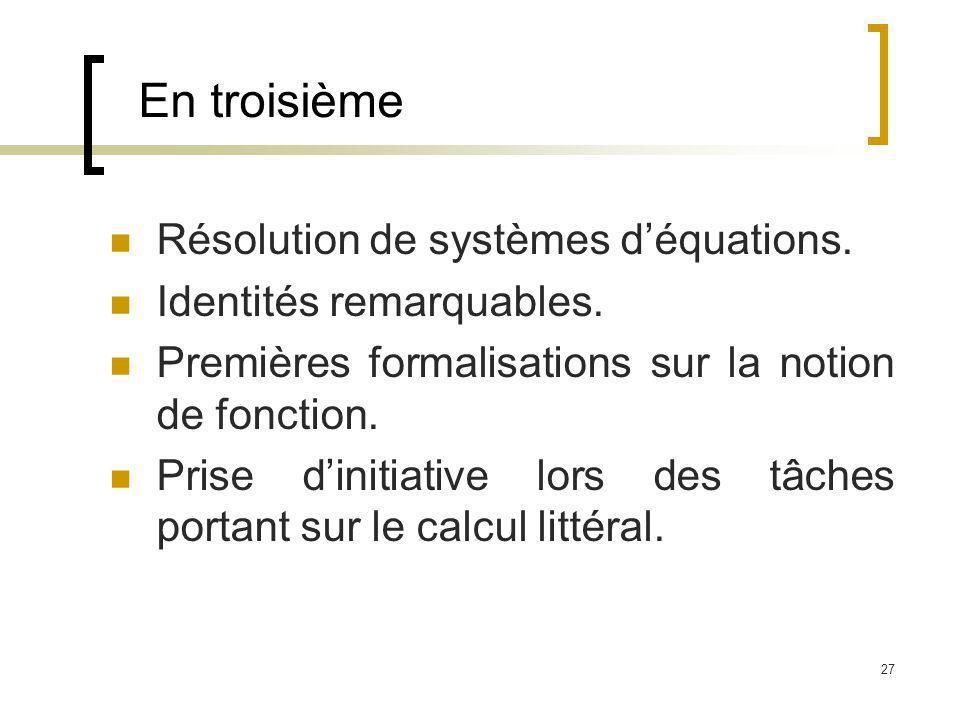 En troisième Résolution de systèmes d'équations.