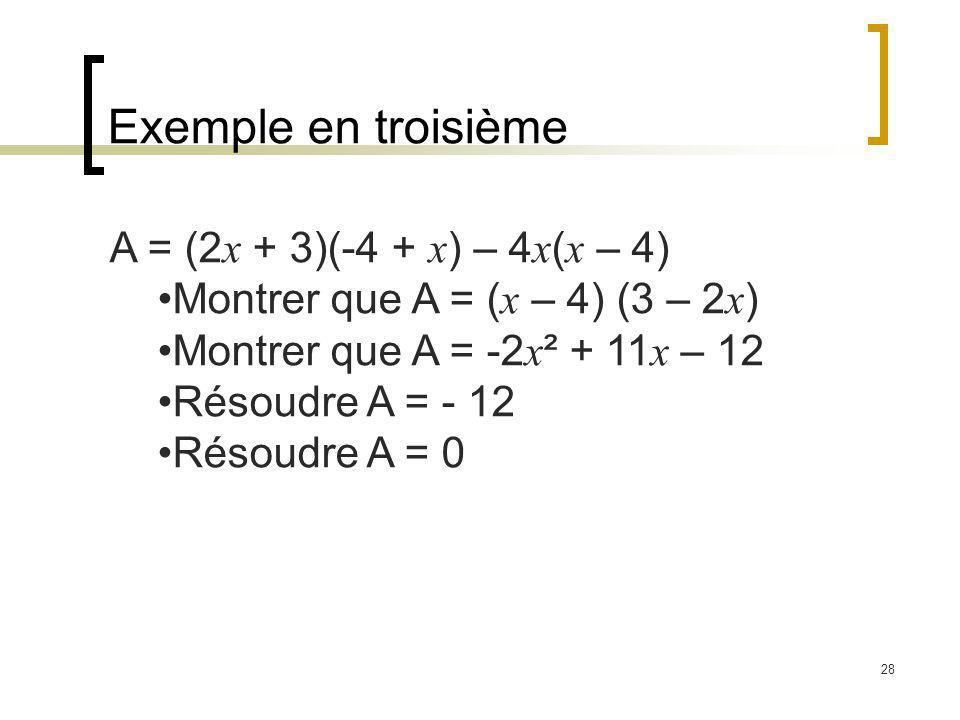 Exemple en troisième A = (2x + 3)(-4 + x) – 4x(x – 4)