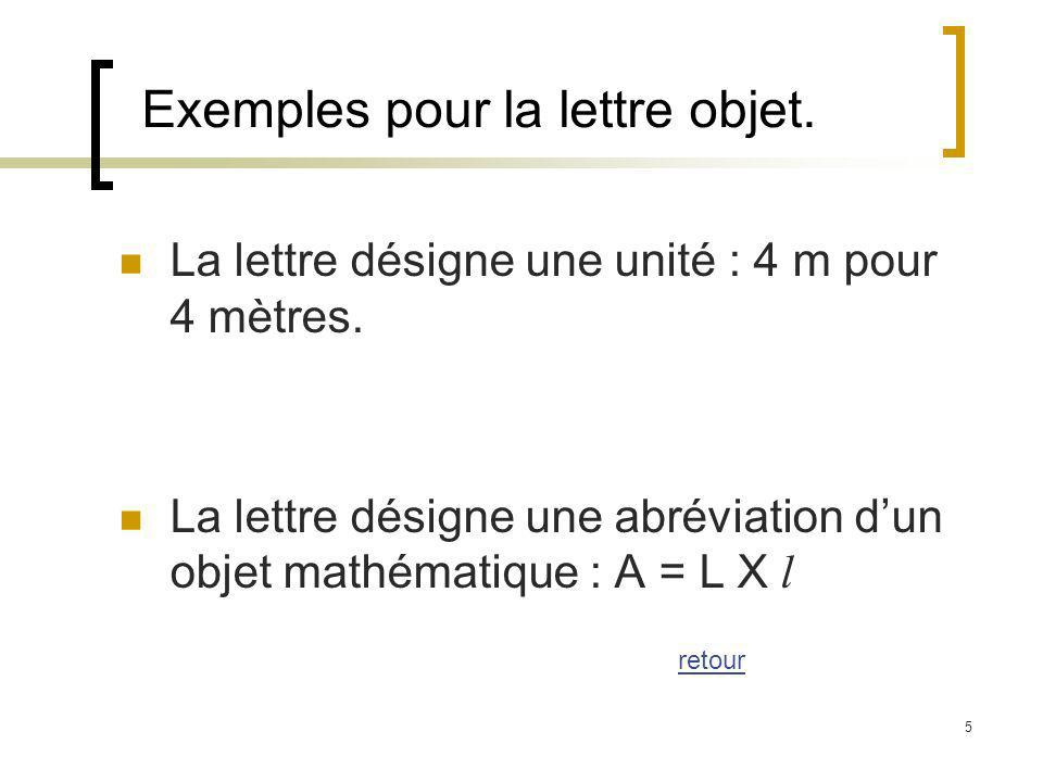 Exemples pour la lettre objet.