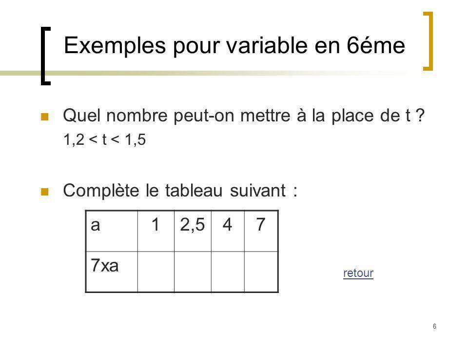 Exemples pour variable en 6éme