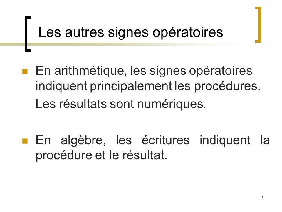 Les autres signes opératoires
